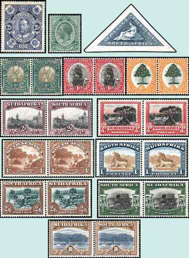 afr stamps first _1910 Stamps of South Africa - stamps 1-2, 21, 23-25, 26-32