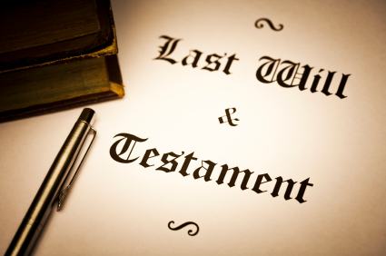 Last Will and testament document. sepia toned and vignette effect